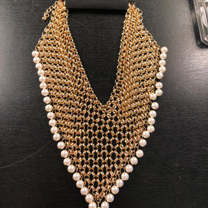 New York & Company Necklace Gold & Pearl NWT